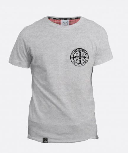 Krzyż św. Benedykt szara koszulka